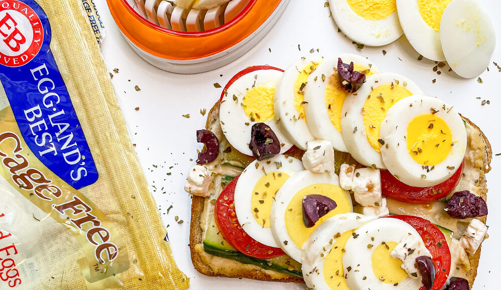Greek Toast with Hard-Cooked Peeled Eggs