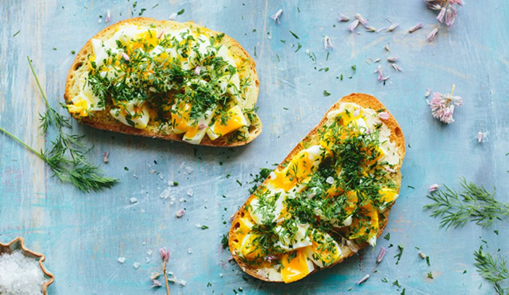 Smashed Eggs on Toast with Spring Herbs