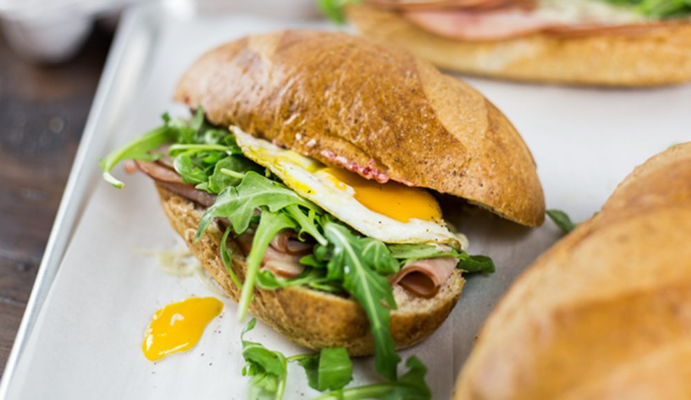 Toasted Egg & Ham Sandwiches with Cranberry Butter