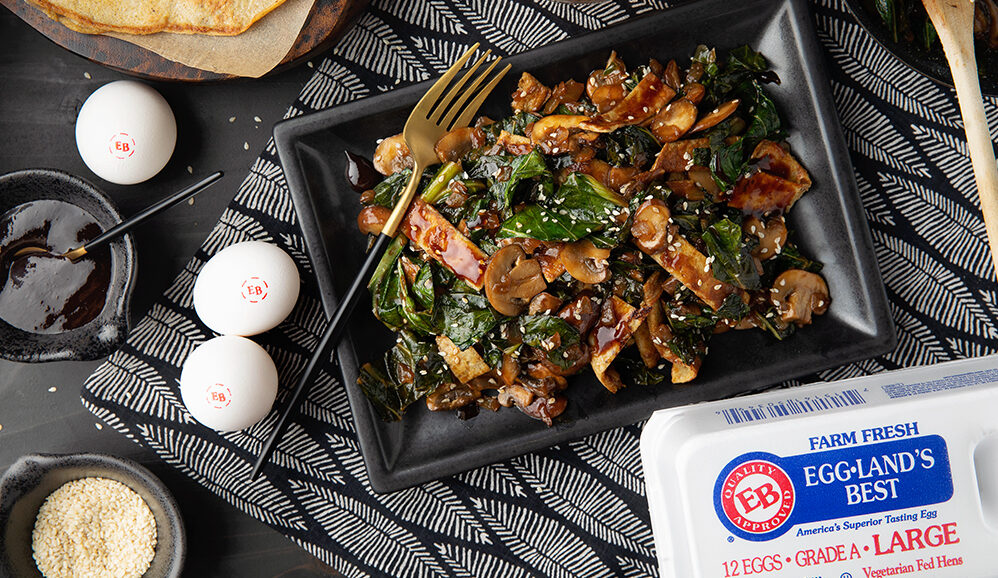Warm Winter Greens with 5 Spice Pancakes and Hoisin Sauce