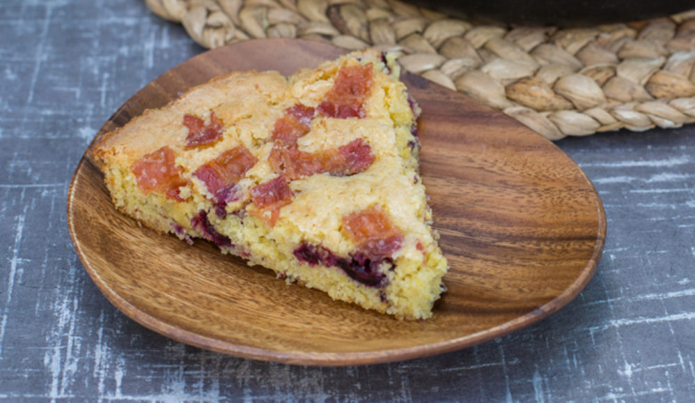 Blueberry Corn Skillet Cake with Bacon Streusel