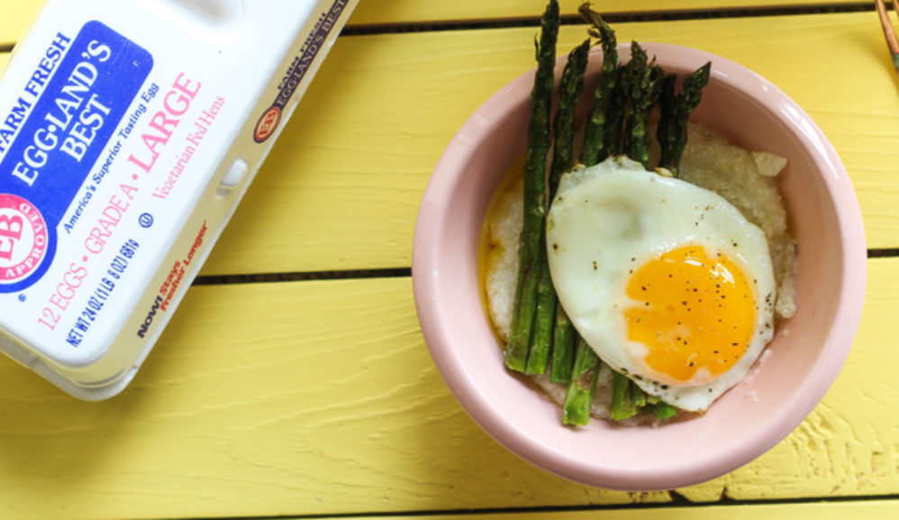 Buttery Grits with Roasted Asparagus and Fried Egg