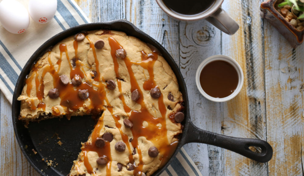 Giant Chocolate Chip & Caramel Skillet Cookie