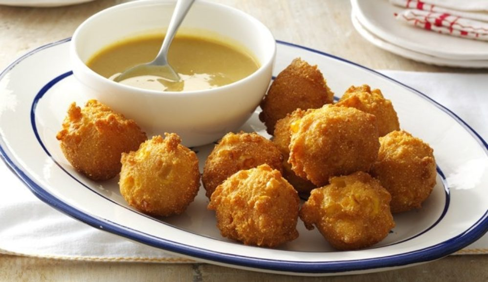 Corn Fritters with Maple-Mustard