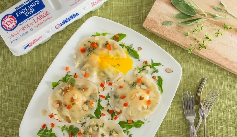 Egg Ravioli with Sage and Almonds