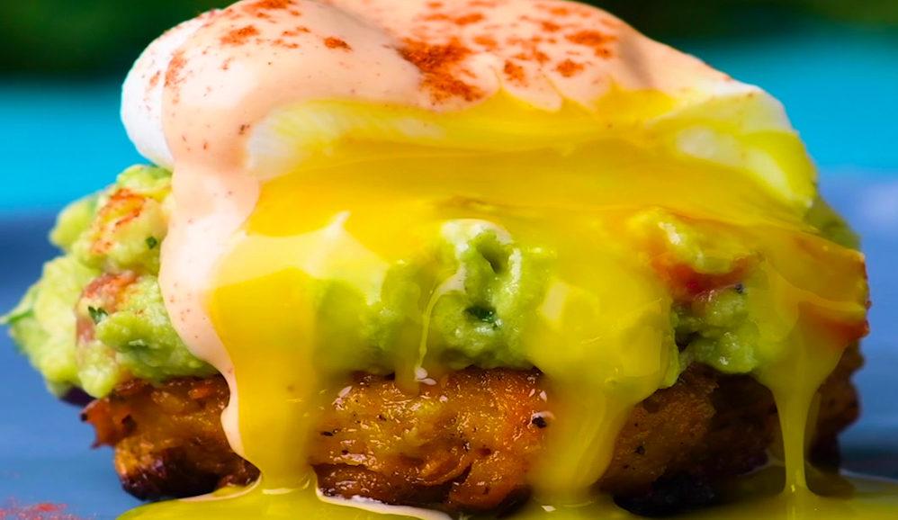 Eggs Benedict Over Butternut Squash Hash