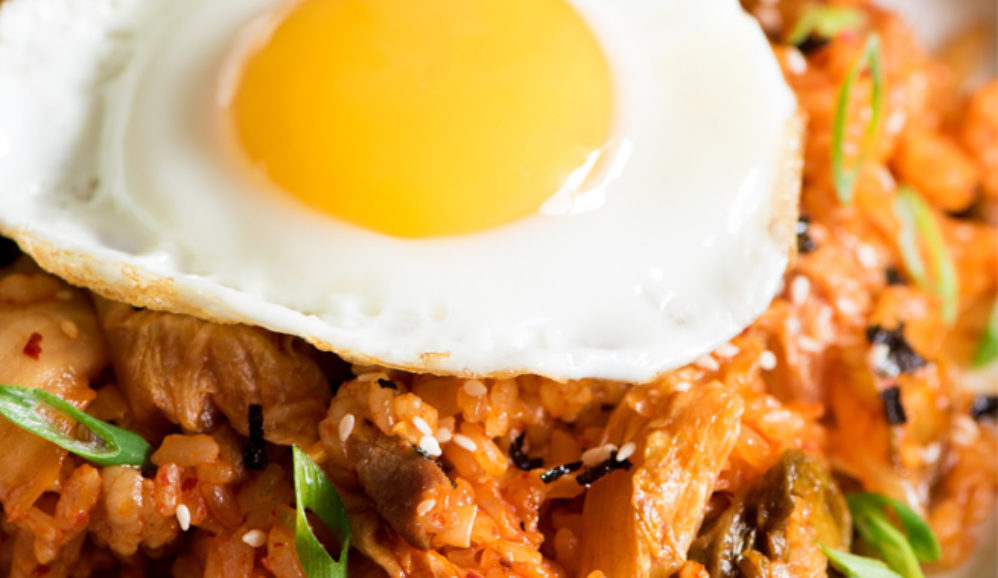 Spicy Kimchi Pork Belly Fried Rice