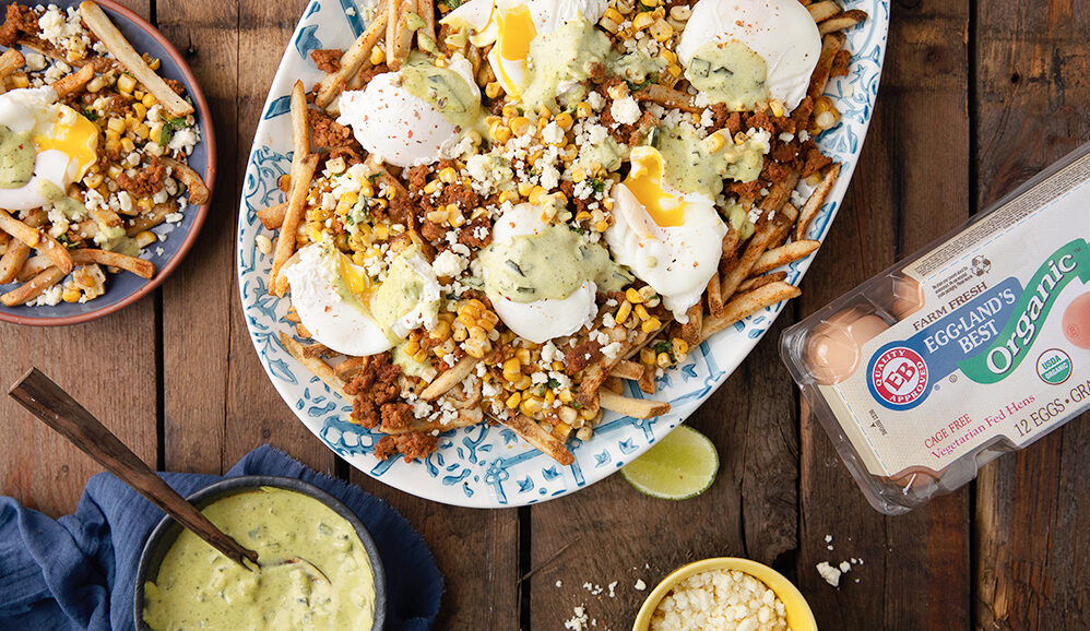 Photo of Mexican Street Corn (Elote) Fries with Poached Eggs and Roasted Poblano Hollandaise