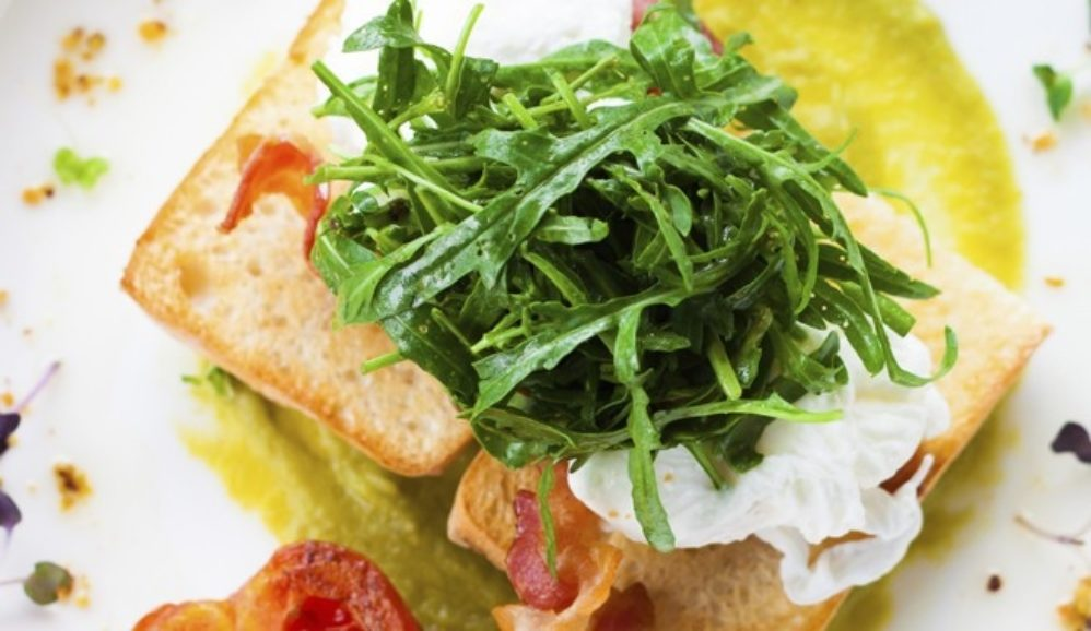 Open Face Egg and Spinach Salad Sandwich