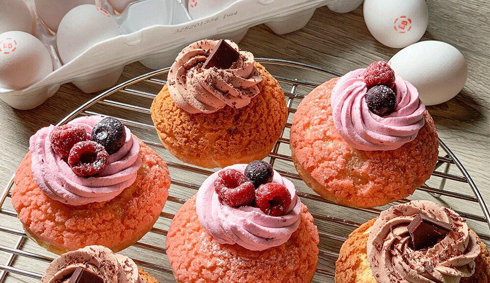 Berry Choux au Craquelin with Whipped Cream