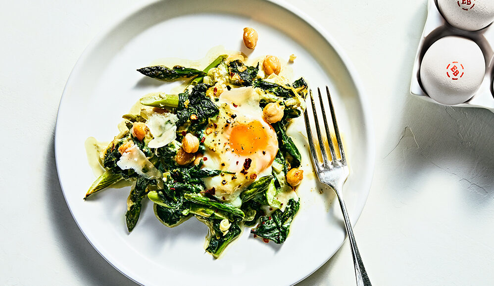 Baked Eggs with Spinach and Chickpeas