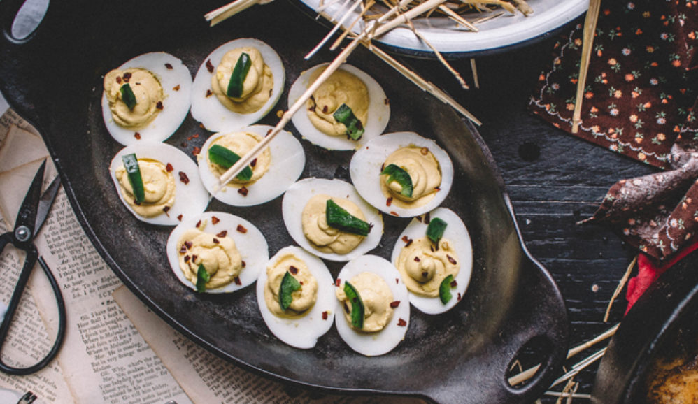 Honeyed Jalapeno Deviled Eggs