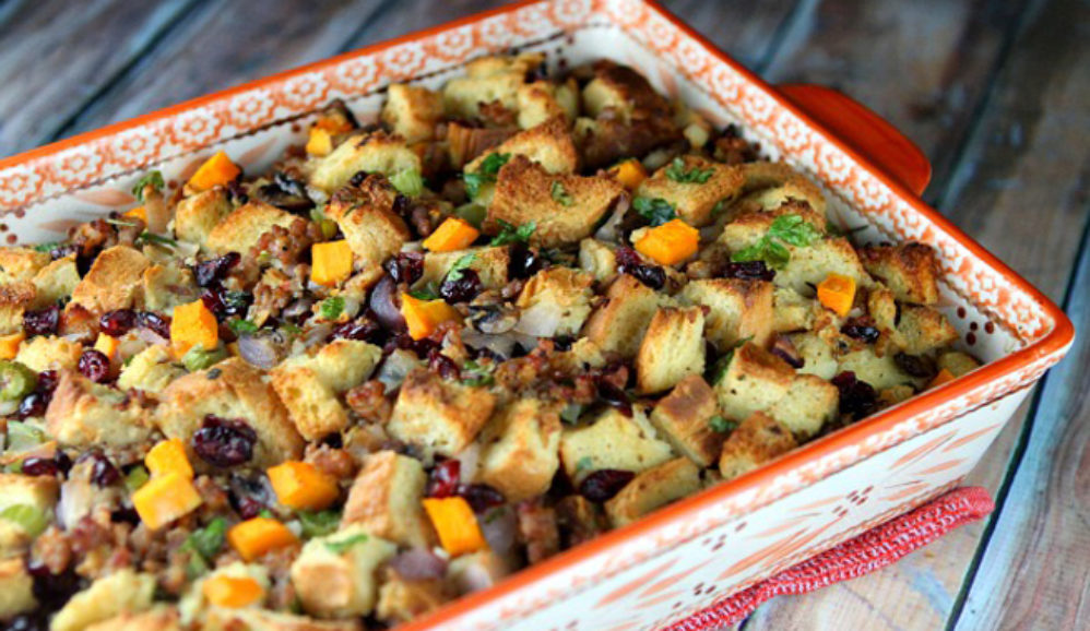 Sausage-Herb Stuffing with Butternut Squash and Cranberries