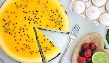 Passion Fruit Cheesecake with a Cocoa Crust