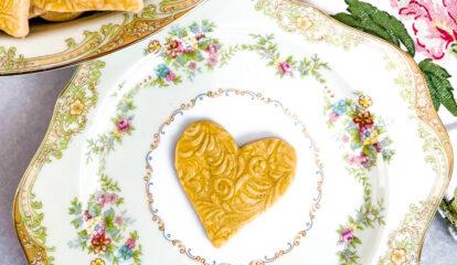 Golden Springerle Heart Cookies