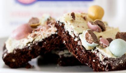 White Chocolate Bark Easter Brownies