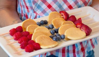 Protein Pancake & Fresh Berry Kabobs