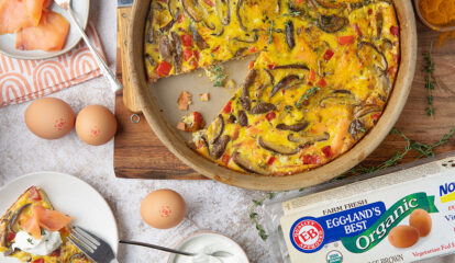 Shiitake Mushroom & Red Bell Pepper Frittata with Smoked Salmon