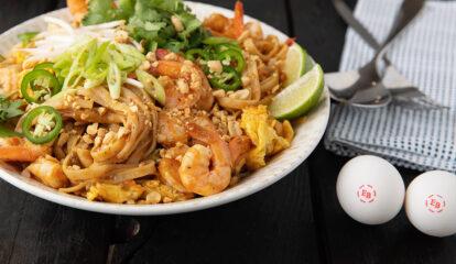 Sriracha Lime Shrimp & Egg Pad Thai Noodle Bowl