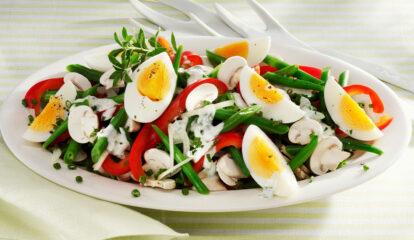 Colorful Bean, Egg & Mushroom Salad