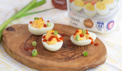 Smoked Deviled Egg with Shrimp Poke