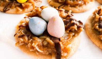 Caramel Coconut Egg Nest Cookies