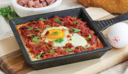Honey Ham & Bean Chili Skillets with Bacon-Cumin Dusted Easy Eggs