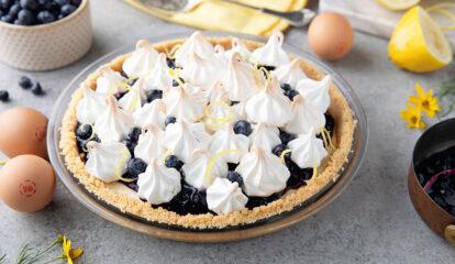Meringue Kissed Lemon Pudding Pie with Wild Berry Jam