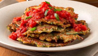 Pan-Fried Zucchini Cakes with Marinara Sauce