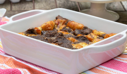 Donut Bread Pudding with Coffee Milk Whipped Cream