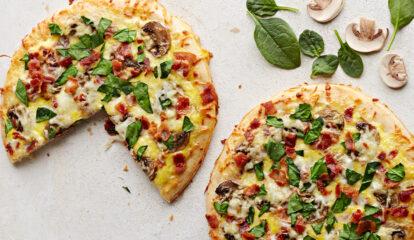 Spinach, Mushroom & Egg Pizzas