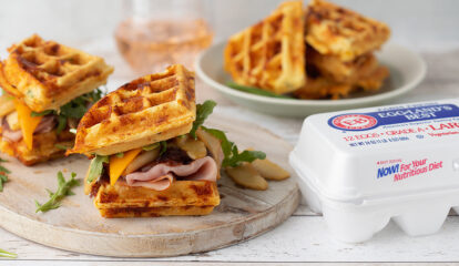 Cheddar Chive Waffle Sandwiches with Ham & Browned Butter Apples