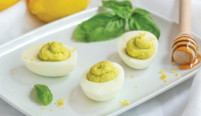 Lemon, Honey & Fresh Basil Deviled Eggs