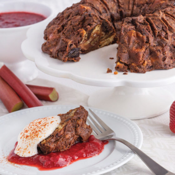 Photo of Chocolate Cayenne Pepper Bread with Strawberry Rhubarb Sauce and Spicy Whipped Cream