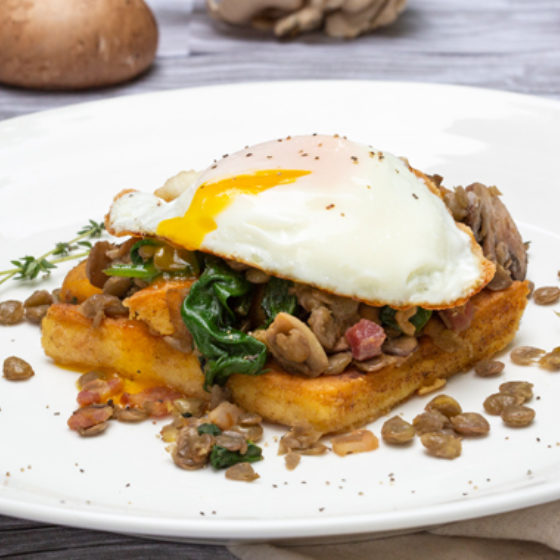 Photo of Fried Eggs with Mushroom, Lentil Hash over Cheesy Polenta Squares