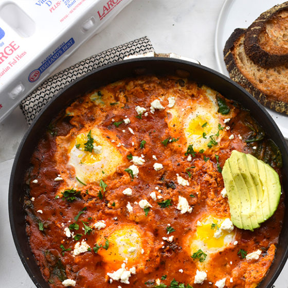 Photo of Shakshuka with Feta, Avocado  and Whole Wheat Sourdough