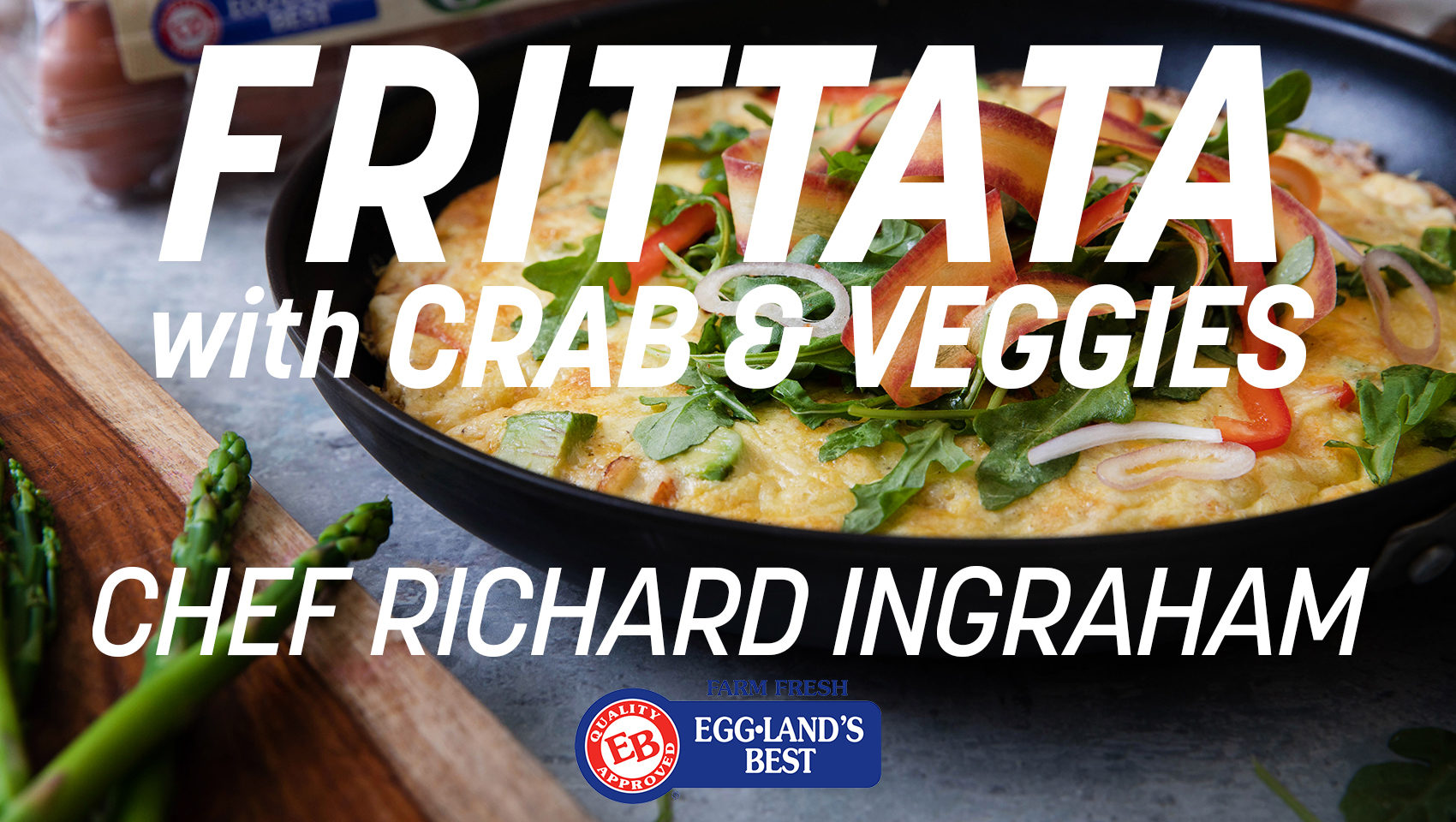 Crab and Vegetable Frittata and Arugula Carrot Salad with Brown Butter Bacon Vinaigrette Video Cover