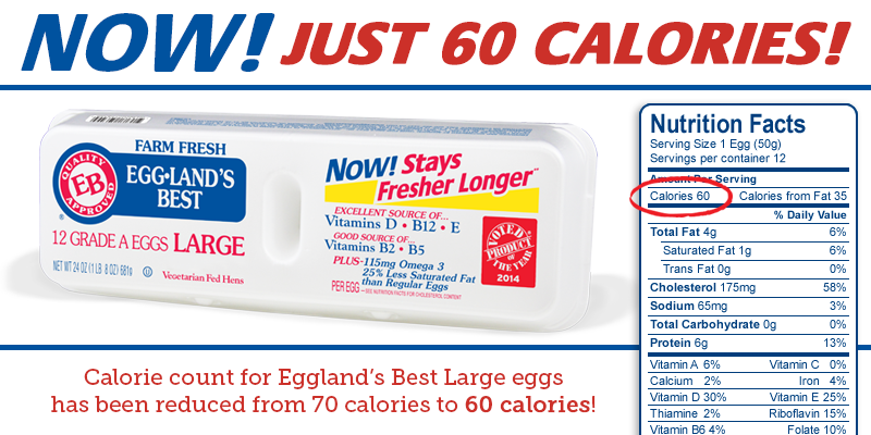 Eggland's Best Eggs Reveals Lower Calorie Count: One Large Eggland's Best Egg Contains Just 60 Calories