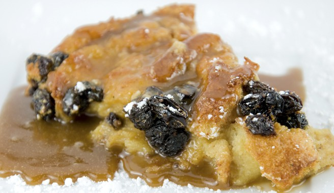 Jessie's Warm Bread Pudding with Caramel Sauce