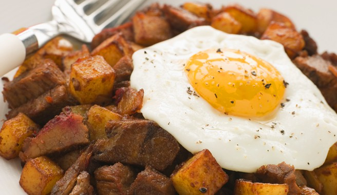 Sunny-Side Up Egg with Sweet Potato Hashbrowns