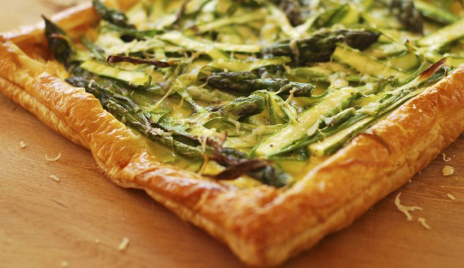 Asparagus, Ricotta and Bacon Tart