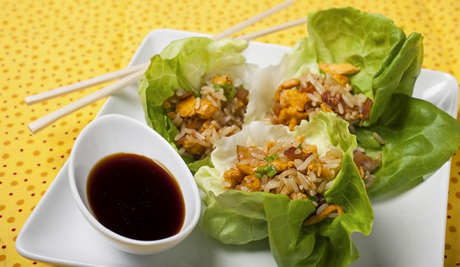 Zesty Egg Fried Rice Lettuce Wraps