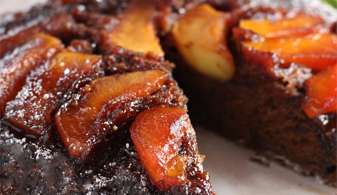 Caramel Apple Upside Down Gingerbread Cake
