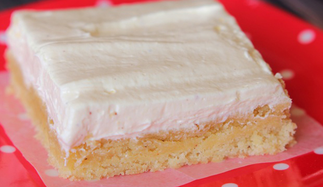 Sugar Cookie Bars with Whipped Eggnog Frosting