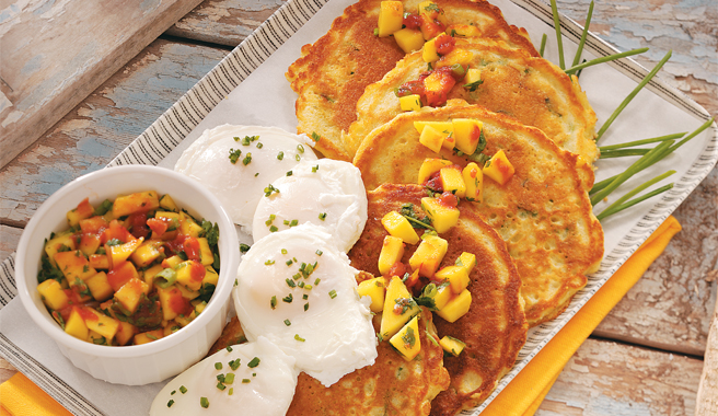 Corn Cakes with Poached Eggs and Mango Salsa