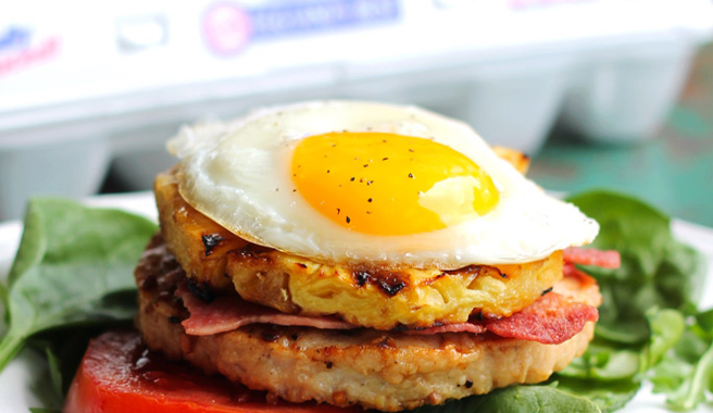 Bacon Egg & Pineapple Turkey Burger