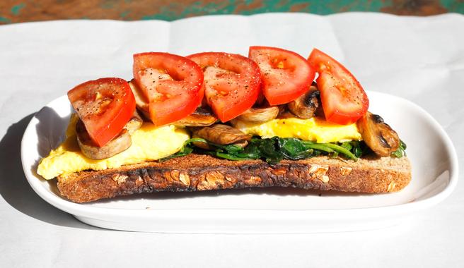 Spinach & Mushroom Breakfast Toast