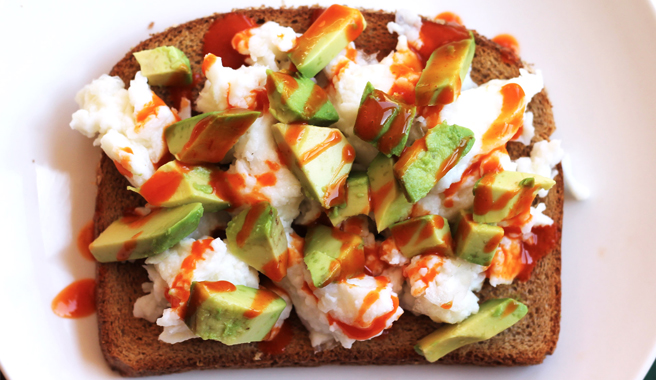 Buffalo Egg White Scramble Toast