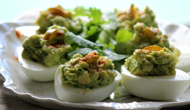 Jalapeno Avocado Deviled Eggs