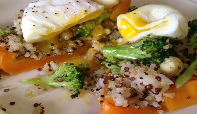 Quinoa Stuffed Bell Pepper w/ Poached Egg